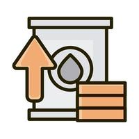 oil barrel coins money increase business financial investing line and fill icon vector
