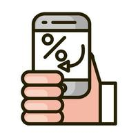 hand with smartphone transaction financial business stock market line and fill icon vector