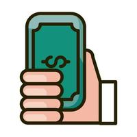 hand with banknote money financial business stock market line and fill icon vector