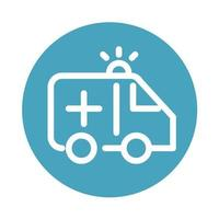 ambulance transport urgency support medical and health care block style icon vector