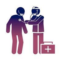 coronavirus covid 19 doctor and patient diagnosis consultation health  gradient style icon vector