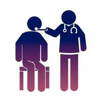 coronavirus covid 19 doctor with patient in consultation diagnosis health  gradient style icon vector