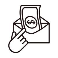 send money click shopping or payment mobile banking line style icon vector