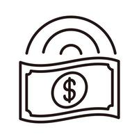 money banknote shopping or payment mobile banking line style icon vector