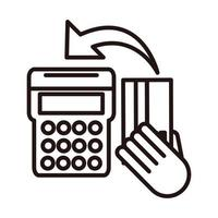 pos terminal bank card shopping or payment mobile banking line style icon vector