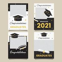 Black White Graduation photo frame collection vector