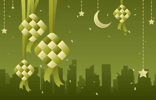 Green background with Ketupat vector