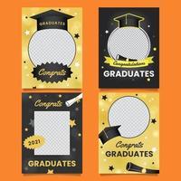 Graduation photoframe with stars vector