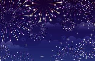 Fireworks background with Dark Sky vector