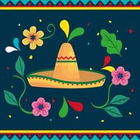 cinco de mayo poster with hat wicker and decoration vector