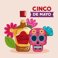 cinco de mayo poster with tequila bottle and decorated skull vector