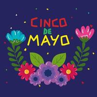 cinco de mayo poster with flowers decoration vector