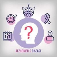 world alzheimer day with profile head and icons vector