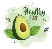 cartel de comida sana con aguacate vector