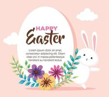 happy easter card with rabbit and flowers decoration vector