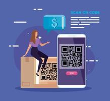 smartphone scan qr code with businesswoman and icons vector