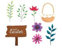 Feliz Pascua etiqueta de madera con decoración de iconos vector