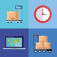 set of poster of delivery logistic service vector