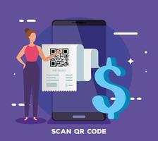 smartphone scans qr code with businesswoman and dollar symbol vector