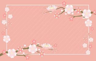 Simple Pink Sakura Flowers Background vector