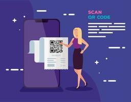 smartphone scans qr code with businesswoman vector