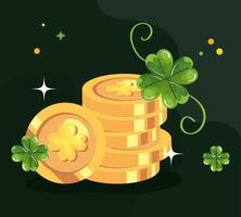 saint patricks day with coins and decoration vector