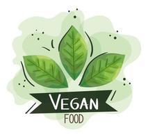 cartel de comida vegana con hojas naturales vector