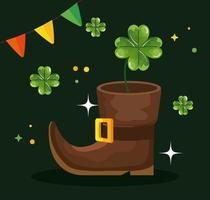saint patricks day with elf boot and decoration vector