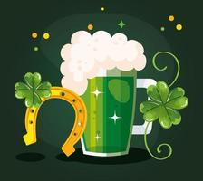 saint patricks day with beer and decoration vector