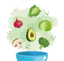 bowl with fresh and healthy vegetables vector