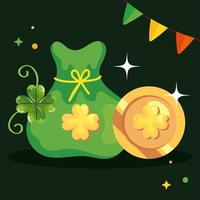 saint patricks day with coin and decoration vector