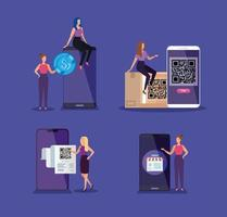 businesswomen with smartphones and qr codes vector