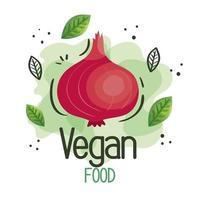 cartel de comida vegana con cebolla y hojas vector