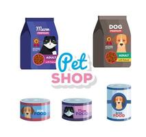 pet shop veterinary with animal food vector