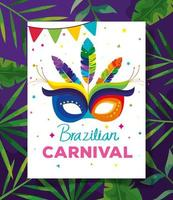 poster of brazilian carnival with mask and tropical leaves vector