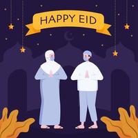 Muslim Couple with Greeting Gesture Eid Mubarak vector