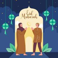 Hand Gesture Apology To Celebrate Eid vector
