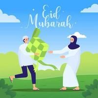 Celebrate Eid al Fitr with Ketupat vector