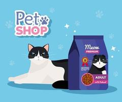 pet shop veterinary with cat and bag food vector