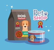 pet shop veterinary with dog food vector