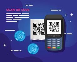 scan qr code with dataphone vector