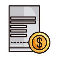 ecommerce bill money shopping or payment mobile banking line and fill icon vector