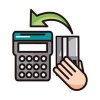 pos terminal bank card shopping or payment mobile banking line and fill icon vector
