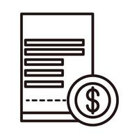 ecommerce bill money shopping or payment mobile banking line style icon vector