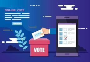cartel de voto en línea con teléfono inteligente e íconos vector
