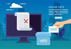 Cartel de voto en línea con computadora e iconos. vector