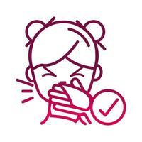 cubra la boca y la nariz con un pañuelo para evitar la propagación del icono de gradiente covid19 vector