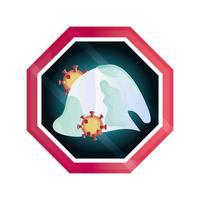 infected tissue paper pandemic stop coronavirus covid 19 vector