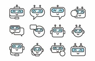 Cute Chatbot Icon Set vector