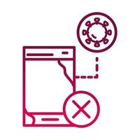 not use phone infected prevent spread of covid19 gradient icon vector